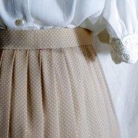 ドット柄 ピンク系 スカート プリーツ/w62cm[42223]