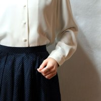 ピンドット柄 ネイビー系 シルク スカート フレア/w65cm[42265]