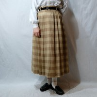チェック柄 黄色 スカート フレア /w63cm[42286]
