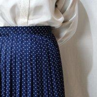 ドット柄 紺 スカート プリーツ/w61cm[42292]