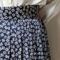 トランプ柄 紺 スカート フレア/w67cm[42309]
