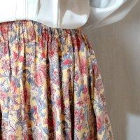 エスニック柄 黄色×赤 スカート フレア/w58cm(ゴム)[42307]