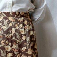 花柄 ブラウン スカート フレア/w64cm[42301]