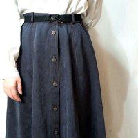 無地 紺 スカート フレア /w65cm[42284]