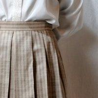ストライプ柄 ベージュ系 シルク混 スカート プリーツ /w65cm[42271]
