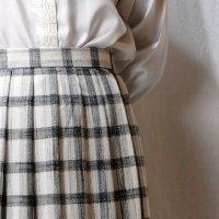 チェック柄 ホワイト×ブラック スカート プリーツ /w67cm[42272]