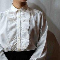 無地 白 長袖 ブラウス フリル レギュラーカラー [16552]