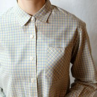 チェック柄 白×青×黄色 長袖 ブラウス  レギュラーカラー  [16609]