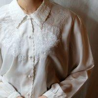 無地 白 長袖 ブラウス レギュラーカラー 刺繍 [16597]