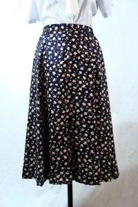 花柄 ネイビー×白 シルク スカート フレア/w68cm[11556]