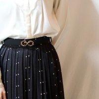 ドット柄 黒×白 スカート プリーツ/w62cm[11496]