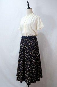 花柄 ネイビー系 スカート フレア/w72cm [11581]