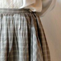 チェック柄 グレー×白 スカート 巻きスカート/w64cm[11478]