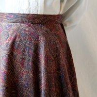 ペイズリー柄 ボルドー系 スカート フレア/w70cm[11480]