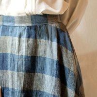 チェック柄 ブルー系 スカート フレア/w63cm[11494]