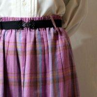 チェック柄 ピンク系 スカート フレア/w66cm[11464]