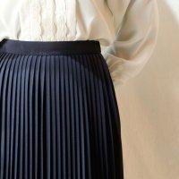 無地 黒 スカート プリーツ/w62cm[11465]