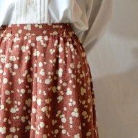 花柄 れんが色 スカート フレア/w59cm[11466]