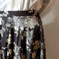 花柄 チャコールグレー(グリーン系) スカート フレア /w64cm[11472]