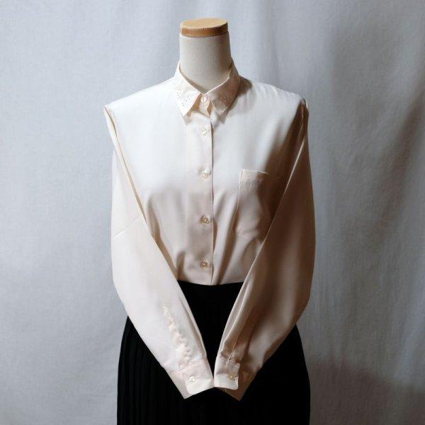 画像2: 無地 ベビーピンク 長袖 ブラウス レギュラーカラー 胸ポケット[11523]