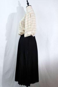 無地 黒 スカート ロング プリーツ/w69cm[11594]