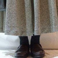 柄 モノトーン 白黒 スカート フレア /w64cm[42174]