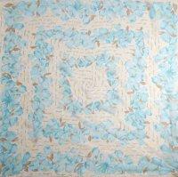 シルク スカーフ 花柄 84cm×84cm[0479]