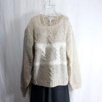 抽象柄 白 セーター ニット ノーカラー[25499]